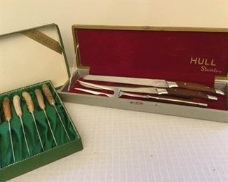 Stag Horn Handled Knife Set and Hull Cutlery https://ctbids.com/#!/description/share/230828