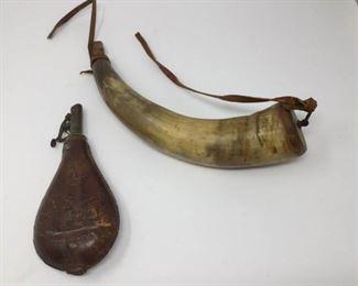 Antique Powderhorn and leather flask https://ctbids.com/#!/description/share/230652
