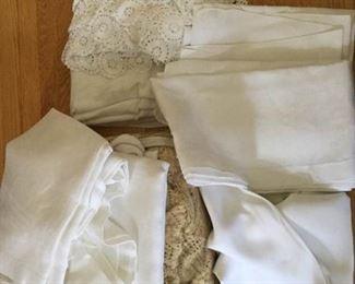 Vintage table cloths and crocheted bedspread, surprise https://ctbids.com/#!/description/share/230649
