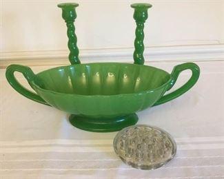 Cambridge Green Glass Twist Candlesticks and Bowl https://ctbids.com/#!/description/share/230632