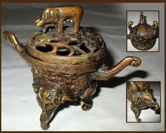 Antique Perfume Pot with Elephants and Fabulous Detail