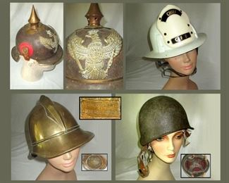 German Picklehaube Helmet, Fire Chief Helmet, Ohliger from Kaiserslautern Antique Fireman's Helmet and Military Helmet