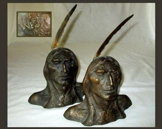 Great Pair of Native American Bookends Signed West 1913