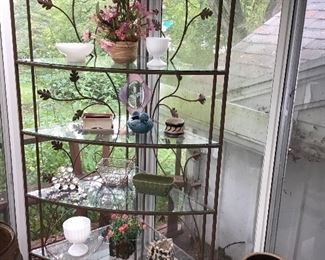 Large Corner Metal and Glass Stand and Planters
