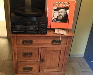 Antique Wash Stand, Record Albums, and Phonograph
