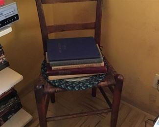 Antique Rush Chair and Yearbooks