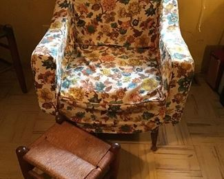 Vintage Club Chair and Woven Footstool