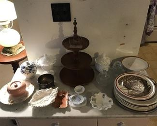 Collectible Plates, Vintage Serving Pieces and Wooden Tart Stand