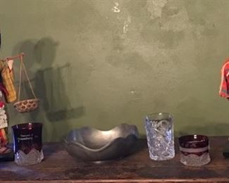 Vintage Dolls, Ruby Glassware and Pewter Bowl