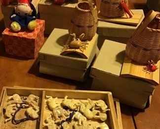 Vintage Japanese Figurines and Baskets