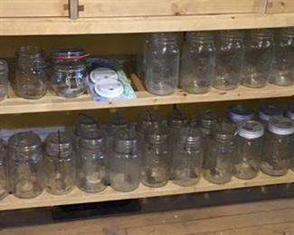 Vintage Wire Bale and Glass Lidded Canning Jars
