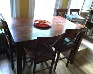 Bar Height Dining Set with 4 Stools
