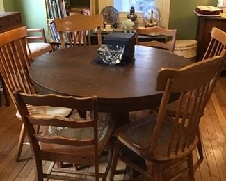 Antique Table and 3 Sets of Chairs