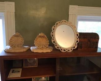 Corbels, Vintage Easel-Back Mirror and Basket