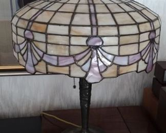 Early 20th century leaded slag glass lamp.  WOW!