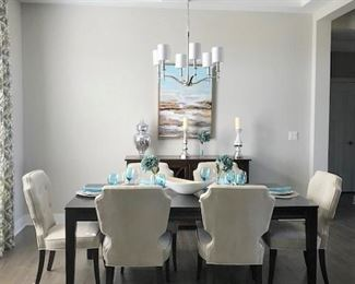 Dining room set, buffet and wall art