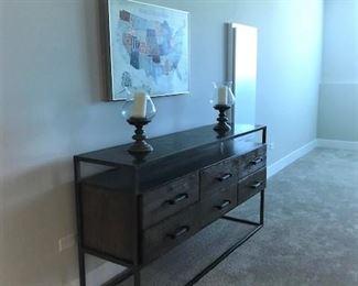Entry table, home decor, wall art.