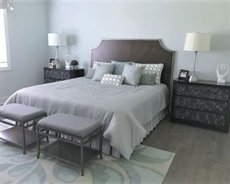 Bed (size avail soon), nightstands, stools, bedding, lamps, home decor.
