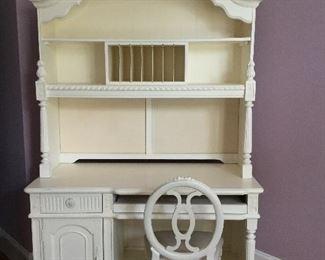 White desk and shelves