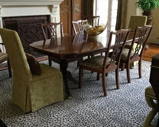Ethan Allen dining table and 8 chairs