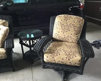 Wicker swivel chair and side table.  Lane Venture