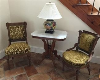 Victorian parlor table and chairs