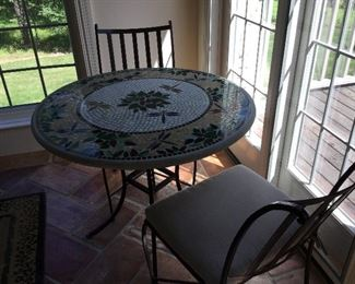 Neill Olson for KNF Home and Garden  stained glass mosaic bistro table and 4 chairs