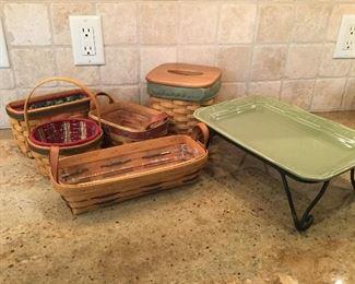 Longaberger baskets and pottery tray