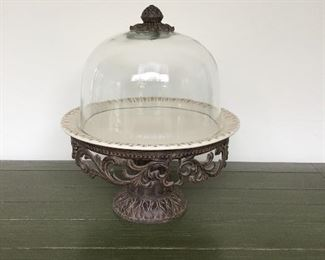 The GG Collection.  Gracious Goods. Acanthus leaves cast iron base. Glass dome. Horchow