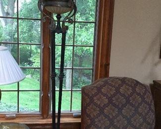 Bronze torchiere lamp