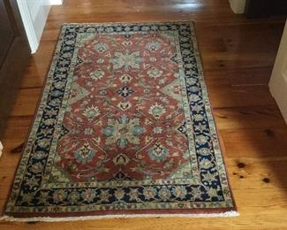 Persimmon and blues rug  5x3