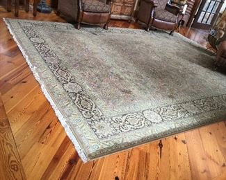 Area rug in moss and olive.  10x14
