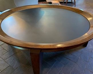 "21. MCM Walnut Coffee Table w/ Black State Inset Top (48"" x 16"")"