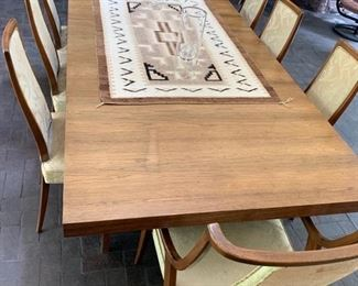 """68. Harvey Probber MCM Scrubbed Rosewood Dining Table w/ Brass Accents (80"""" x 44"""" x 29"""") 1-16"""" Leaf and 8 Chairs, 6 Side Chairs (20"""" x 19"""" x 38"""") and 2 Arm Chairs (24"""" x 22"""" x 38"""")"""