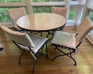 "1. ABC Carpet Mosaic Top Metal Table (40"" x 30"")                   2. 4 Pottery Barn Folding Chairs w/ 2 Sets of Cushions (18"" x 22"" x 33"")"