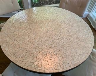 "1. ABC Carpet Mosaic Top Metal Table (40"" x 30"")"