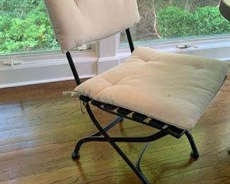 "2. 4 Pottery Barn Folding Chairs w/ 2 Sets of Cushions (18"" x 22"" x 33"")"