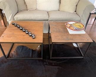 """3. Pair of ABC Rustic Plank Top Tables w/ Metal Base (26"""" x 26"""" x 17"""")"""