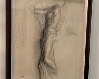 """14. Antique Pencil Drawing of Figure signed and Dated Nov 16, 1866 (23"""" x 29"""")"""