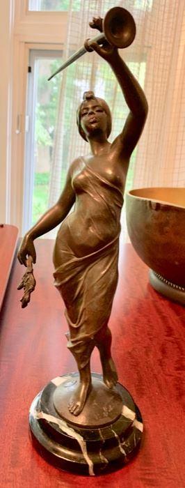 "12. Bronze Statue signed Villanis (14"")"