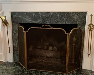 17. Brass Tri-fold Fireplace Screen and 2 Tools