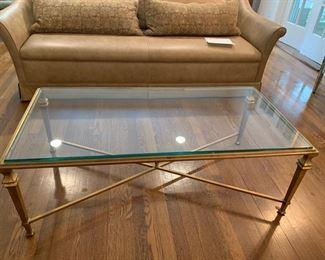 "31a. Glass Top Coffee Table w/ Gilt Base (48"" x 24"" x 16"")"