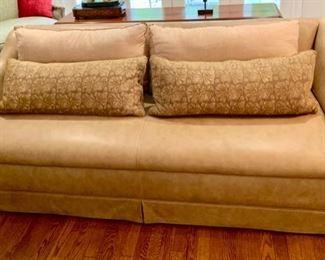 "19. Ainara Novel Leather Sofa w/ Decorative Pillows (84"" x 40"" x 30"")"