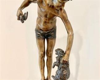 """21. Bronze Sculpture of Boy & Rabbit by E. Guilbert (30"""" x 14"""")"""