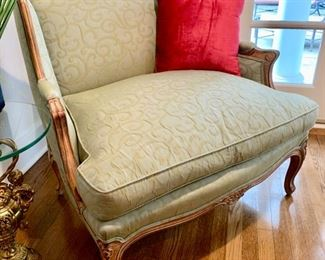 """25. French Provincial Wingback Chair w/ Silk Upholstery (38"""" x 27"""" x 38"""")"""