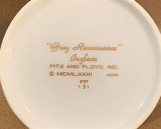"32a. Fitz and Floyd ""Grey Renaissance"" Inglaze Dinnerware 60pc"