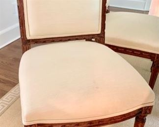 """36. Custom Louis XVI Cherry w/ Fluted Leg and 2-20"""" Refractory Leaves (78"""" x 45"""" x 30"""") 8 Louis XVI Dining Chairs w/ Upholstered Seat and Carved  Back, 2 Arm Chairs (25"""" x 24"""" x 39""""), 6 Side Chairs (20"""" x 22"""" x 38"""")"""