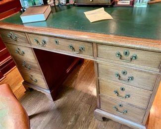 "43. Georgian Style Double Pedestal Writing Desk w/ Leather Top (48"" x 28"" x 31"")"