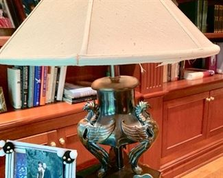 """45. Metal and Wood Table Lamp (24"""")"""