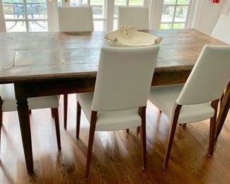 """60. Tourette End French Elm Farm Table (76"""" x 37"""" x 31"""") 61. Set of 6 White Leather Side Chairs Made in Italy (19"""" x 18"""" x 38"""")"""
